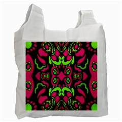 Psychedelic Retro Ornament Print White Reusable Bag (two Sides)