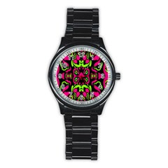 Psychedelic Retro Ornament Print Sport Metal Watch (black)