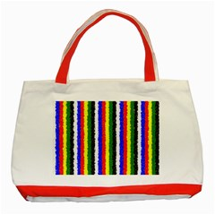 Basic Colors Curly Stripes Classic Tote Bag (red) by BestCustomGiftsForYou