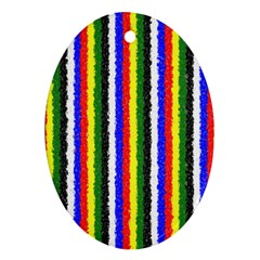 Basic Colors Curly Stripes Oval Ornament (two Sides) by BestCustomGiftsForYou