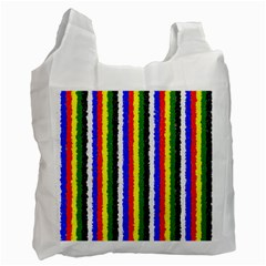 Basic Colors Curly Stripes White Reusable Bag (two Sides) by BestCustomGiftsForYou