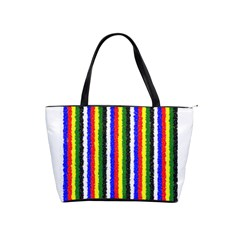 Basic Colors Curly Stripes Large Shoulder Bag by BestCustomGiftsForYou
