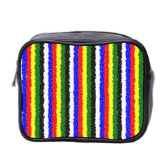 Basic Colors Curly Stripes Mini Travel Toiletry Bag (two Sides) by BestCustomGiftsForYou
