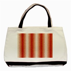 Red Curly Stripes Twin Sided Black Tote Bag by BestCustomGiftsForYou