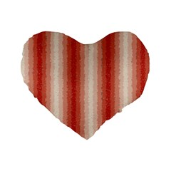 Red Curly Stripes 16  Premium Heart Shape Cushion  by BestCustomGiftsForYou