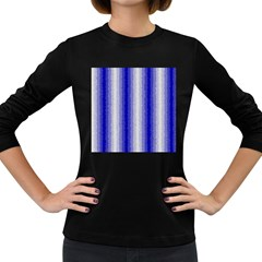 Dark Blue Curly Stripes Women s Long Sleeve T Shirt (dark Colored) by BestCustomGiftsForYou