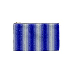 Dark Blue Curly Stripes Cosmetic Bag (small) by BestCustomGiftsForYou