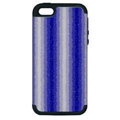 Dark Blue Curly Stripes Apple Iphone 5 Hardshell Case (pc+silicone) by BestCustomGiftsForYou