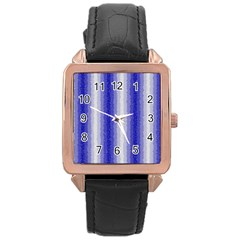 Dark Blue Curly Stripes Rose Gold Leather Watch  by BestCustomGiftsForYou