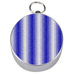 Dark Blue Curly Stripes Silver Compass by BestCustomGiftsForYou