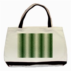 Dark Green Curly Stripes Twin Sided Black Tote Bag by BestCustomGiftsForYou