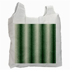 Dark Green Curly Stripes White Reusable Bag (one Side) by BestCustomGiftsForYou