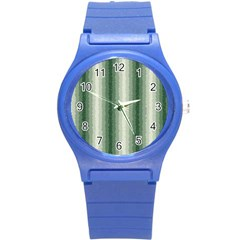 Dark Green Curly Stripes Plastic Sport Watch (small) by BestCustomGiftsForYou