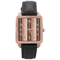 Native American Curly Stripes   4 Rose Gold Leather Watch  by BestCustomGiftsForYou