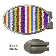 Vivid Colors Curly Stripes   1 Money Clip (oval) by BestCustomGiftsForYou