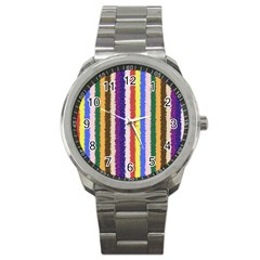 Vivid Colors Curly Stripes   1 Sport Metal Watch by BestCustomGiftsForYou