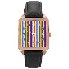 Vivid Colors Curly Stripes   1 Rose Gold Leather Watch  by BestCustomGiftsForYou
