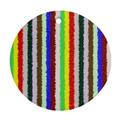 Vivid Colors Curly Stripes   2 Round Ornament by BestCustomGiftsForYou