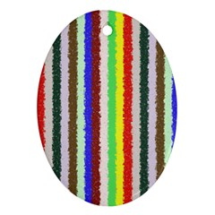 Vivid Colors Curly Stripes   2 Oval Ornament by BestCustomGiftsForYou