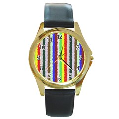 Vivid Colors Curly Stripes   2 Round Leather Watch (gold Rim)  by BestCustomGiftsForYou