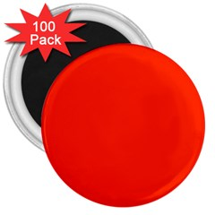 Bright Red 3  Button Magnet (100 Pack)