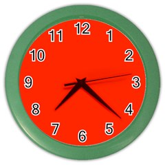 Bright Red Wall Clock (color) by BestCustomGiftsForYou
