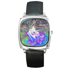 Splash1 Square Leather Watch by icarusismartdesigns