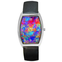 Colour Chaos  Tonneau Leather Watch by icarusismartdesigns