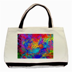 Colour Chaos  Twin Sided Black Tote Bag by icarusismartdesigns