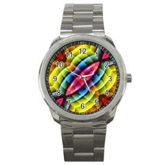 Multicolored Abstract Pattern Print Sport Metal Watch by dflcprints