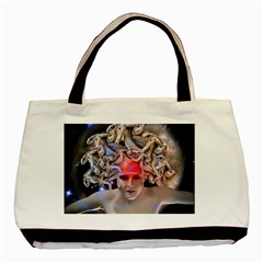 Medusa Twin Sided Black Tote Bag by icarusismartdesigns