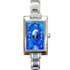 Alien Blue Rectangular Italian Charm Watch by icarusismartdesigns