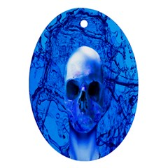 Alien Blue Oval Ornament by icarusismartdesigns
