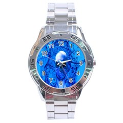 Alien Blue Stainless Steel Watch by icarusismartdesigns