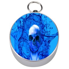 Alien Blue Silver Compass by icarusismartdesigns