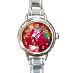 Star Flower Round Italian Charm Watch by icarusismartdesigns