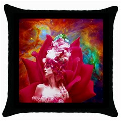 Star Flower Black Throw Pillow Case by icarusismartdesigns