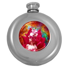 Star Flower Hip Flask (round) by icarusismartdesigns