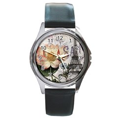 Vintage Paris Eiffel Tower Floral Round Leather Watch (silver Rim) by chicelegantboutique