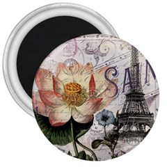 Vintage Paris Eiffel Tower Floral 3  Button Magnet