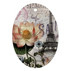 Vintage Paris Eiffel Tower Floral Oval Ornament by chicelegantboutique