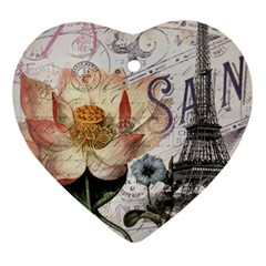 Vintage Paris Eiffel Tower Floral Heart Ornament by chicelegantboutique