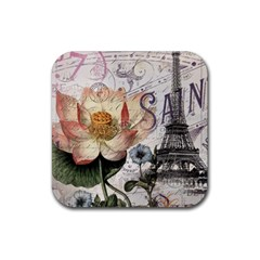 Vintage Paris Eiffel Tower Floral Drink Coaster (square) by chicelegantboutique
