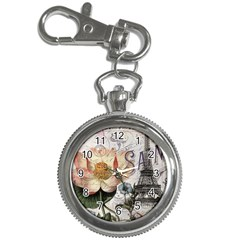Vintage Paris Eiffel Tower Floral Key Chain Watch by chicelegantboutique