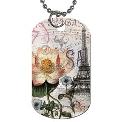 Vintage Paris Eiffel Tower Floral Dog Tag (one Sided)