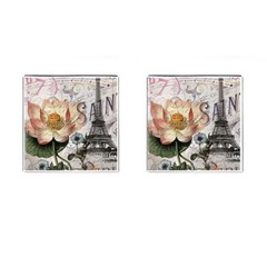 Vintage Paris Eiffel Tower Floral Cufflinks (square) by chicelegantboutique