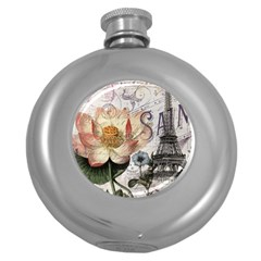Vintage Paris Eiffel Tower Floral Hip Flask (round) by chicelegantboutique