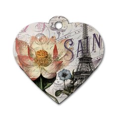 Vintage Paris Eiffel Tower Floral Dog Tag Heart (two Sided) by chicelegantboutique