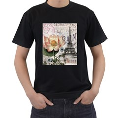 Vintage Paris Eiffel Tower Floral Men s T Shirt (black) by chicelegantboutique