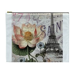 Vintage Paris Eiffel Tower Floral Cosmetic Bag (xl)